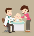 mom and pediatrician doctor examining little baby vector image vector image