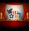 movie theater with row of red seats vector image vector image