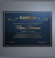 premium blue certificate template design in vector image vector image