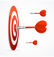 realistic detailed 3d red dartboard with darts vector image vector image