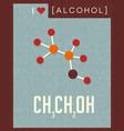 retro poster of alcohol molecule vector image vector image