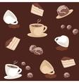 Seamless pattern with coffee cups and cakes vector image