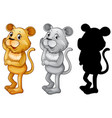 set of female lion character vector image vector image