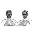 Siamese twins vintage engraving vector image vector image