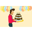smiling man is celebrating birthday vector image