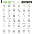 summer outdoor camping thin line web icons set vector image vector image