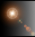 summer sun lens flare with realistic light and vector image vector image