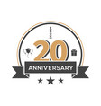 twenty anniversary retro emblem on white vector image vector image