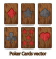 Wooden poker playing card vector image vector image