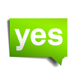 yes green 3d realistic paper speech bubble vector image