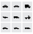 black vehicles icons set vector image