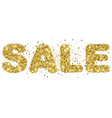 sale lettering from gold glitter vector image