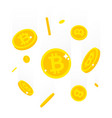 falling bitcoins isolated on vector image