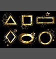 set of polygonal golden banners vector image