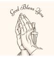 Prayer hand with cross vector image