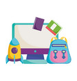 back to school backpack rocket computer and books vector image vector image