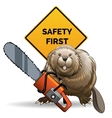 Beaver with a chainsaw vector image vector image