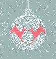 blue and white christmas ball vector image vector image