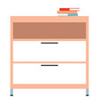 chest drawers with books isolated on white vector image vector image