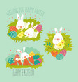 collection easter bunny with colorful egg vector image vector image