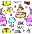 collection of wedding element doodle style vector image vector image