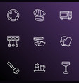 cooking icons line style set with baking paper vector image