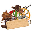 cowboy concept with wooden plank vector image vector image