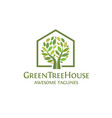 creative simple green house logo vector image vector image