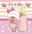 cute cartoon pig with feeding bottle vector image vector image