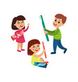 cute little boy and girls characters playing with vector image vector image