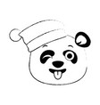 cute panda crazy emoji kawaii vector image