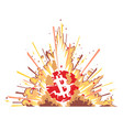 exploding bitcoin on white vector image