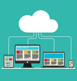 flat design cloud computing with devices elements vector image vector image