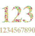 Floral numbers set vintage style numerals set vector image vector image