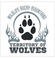 Footprint Wolves emblem - dangerous territory vector image vector image