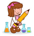girl at science class holding a big pencil vector image