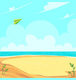green paper airplane flying in clouds over vector image vector image