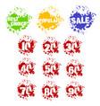 grunge set of dozen of sale stickers in splashes vector image vector image