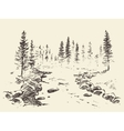 Hand drawn landscape river forest vintage vector image vector image
