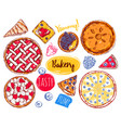 hand drawn pie slice cake icon set vector image vector image