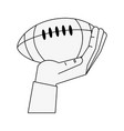 hand holding american football ball vector image vector image