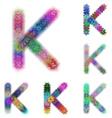 Happy colorful fractal font set - letter K vector image vector image