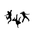 Happy modern dancing silhouettes