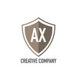 initial letter ax shield design loco concept vector image vector image
