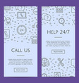 line call support center icons web banner vector image vector image