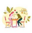 loving man and woman couple on dating in cafe vector image vector image