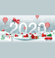 merry christmas and happy new year 2020 home town vector image