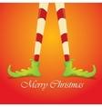 merry christmas card with cartoon elfs legs vector image vector image