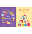 merry christmas poster with present boxes symbols vector image vector image