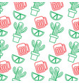 mexican pot cactus drink and lime seamless pattern vector image vector image
